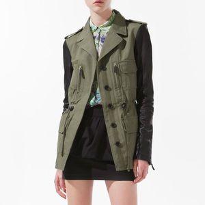 Zara Leather Sleeve Military Surplus Army Jacket L